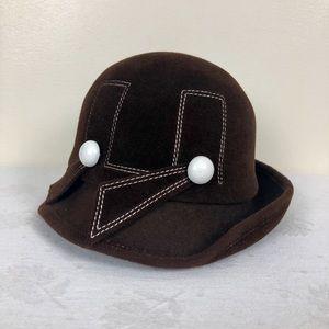 Vintage Brown Velvet Cloche Hat Rare
